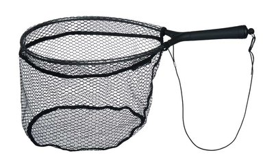 Wader's landing net with magnet clip.